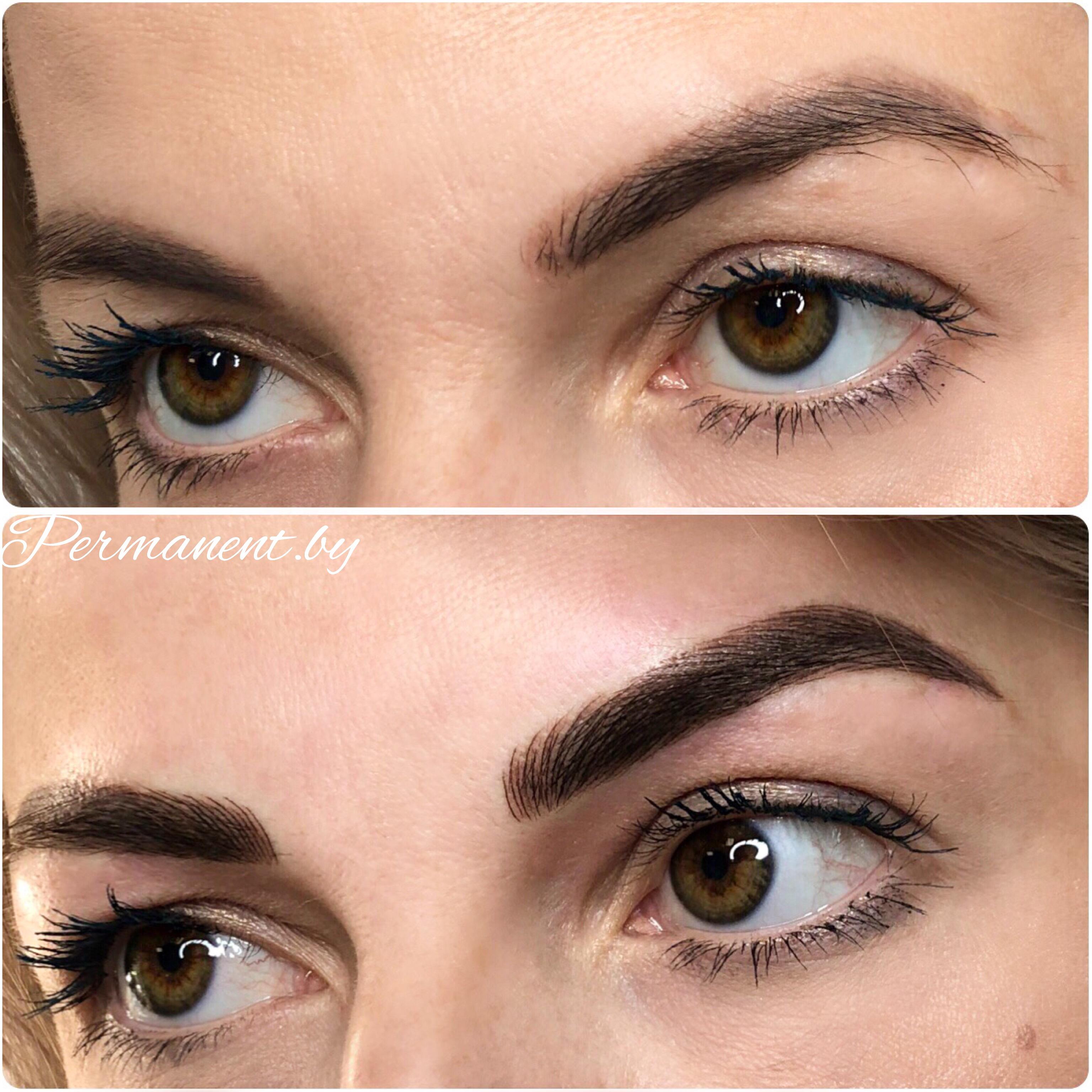 Popolare татуаж бровей до и после коррекции фото